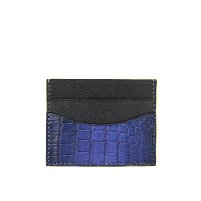 Barnns Terra Crocodile Leather Card Holder 828051 Blue