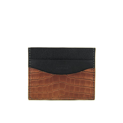 Terra Handcrafted Crocodile Leather Slim Card Holder - Cafe