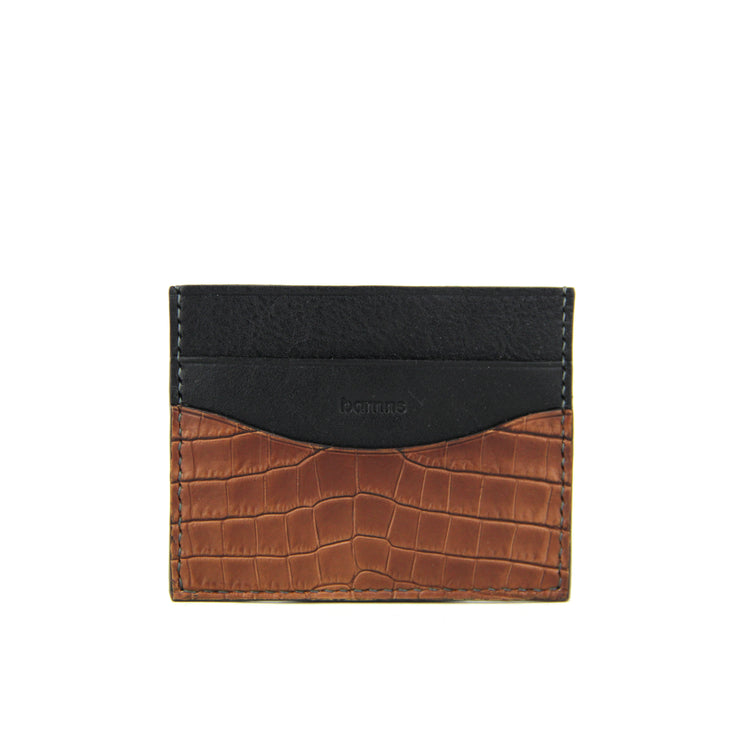 Terra Crocodile Leather Card Holder (Cafe)