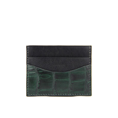 Terra Handcrafted Crocodile Leather Slim Card Holder - Forest Green