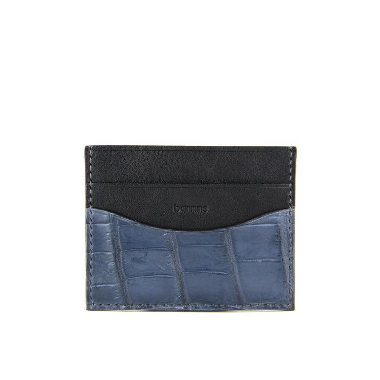 Terra Handcrafted Crocodile Leather Slim Card Holder - Slate Blue
