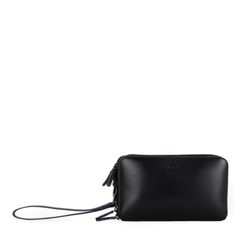 Aurora Triple Compartment Clutch (Black)