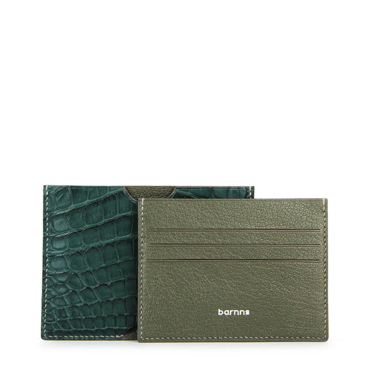 Limited Edition Valour Handcrafted Alligator Leather Ultra-Slim Card Holder - Green