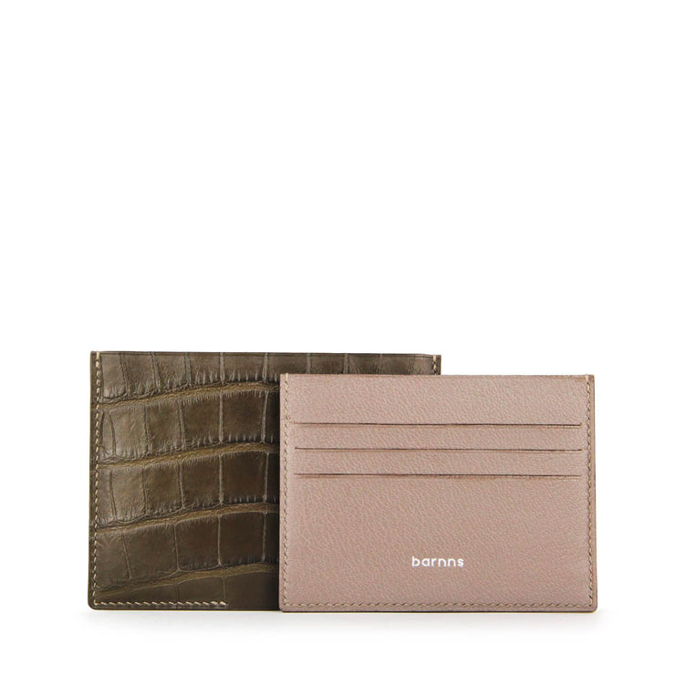 Limited Edition Valour Handcrafted Alligator Leather Ultra-Slim Card Holder - Khaki