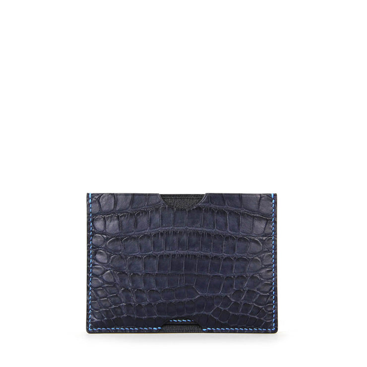 Limited Edition Valour Handcrafted Alligator Leather Ultra-Slim Card Holder - Navy