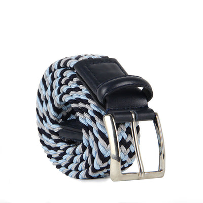Italian Luca Multicoloured Woven Belt with Leather Trim (Blue)
