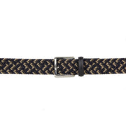 Italian Luca Multicoloured Woven Belt with Leather Trim (Brown)