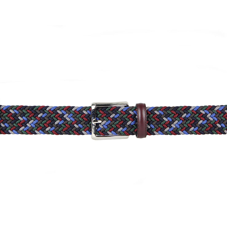 Italian Luca Multicoloured Woven Belt with Leather Trim (Wine)