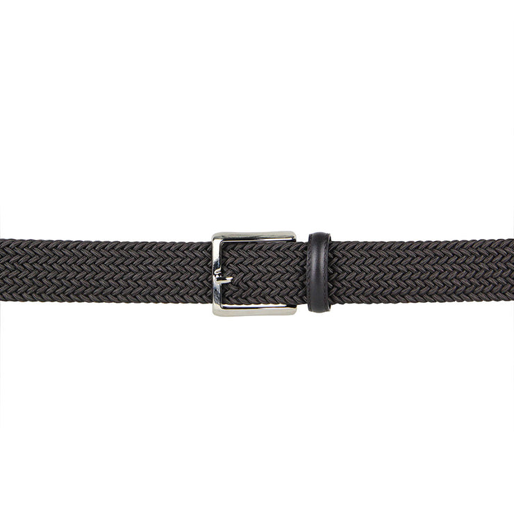 Italian Marco Woven Belt with Leather Trim (Cafe)