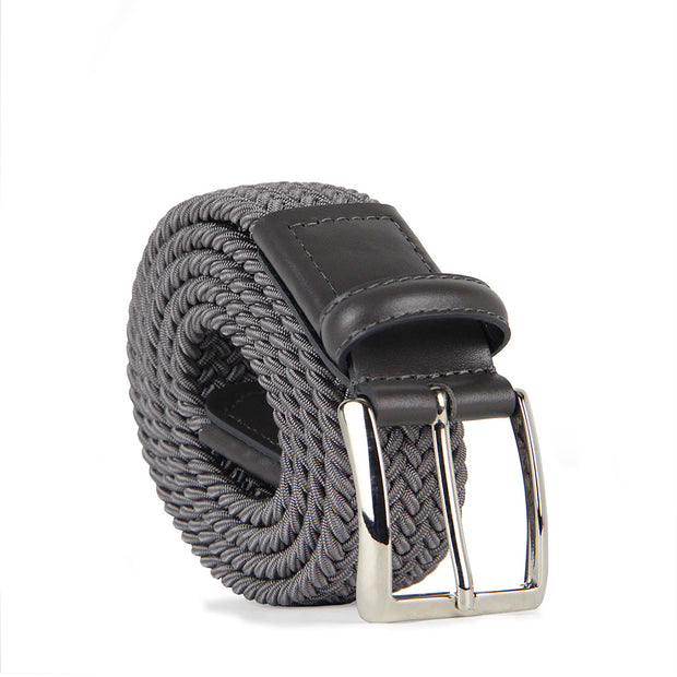 Italian Marco Woven Belt with Leather Trim (Grey)