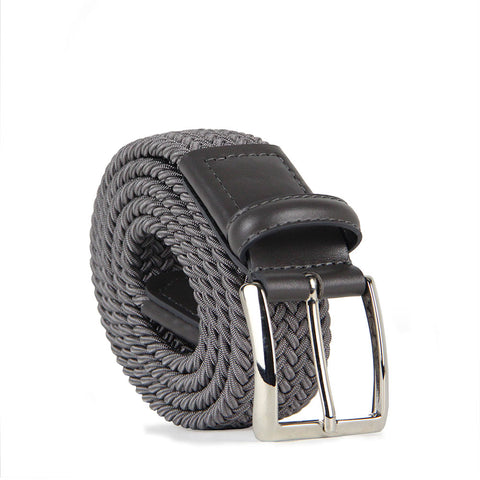 Marco Woven Belt with Leather Trim 8300 Grey (Grey)