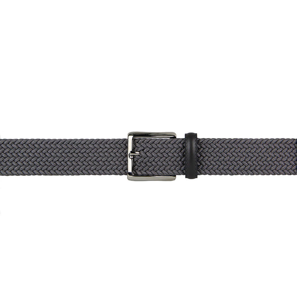 Marco Woven Belt with Leather Trim (Grey)