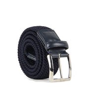 Italian Marco Woven Belt with Leather Trim (Navy)