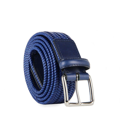 Italian Paolo Woven Leather Belt (Blue)