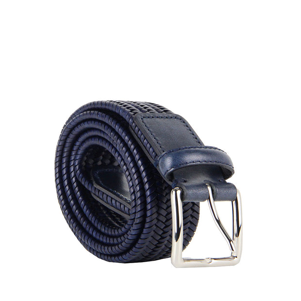 Italian Paolo Woven Leather Belt (Navy)