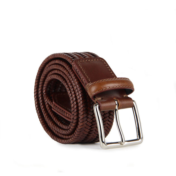 Italian Paolo Woven Leather Belt (Tan)