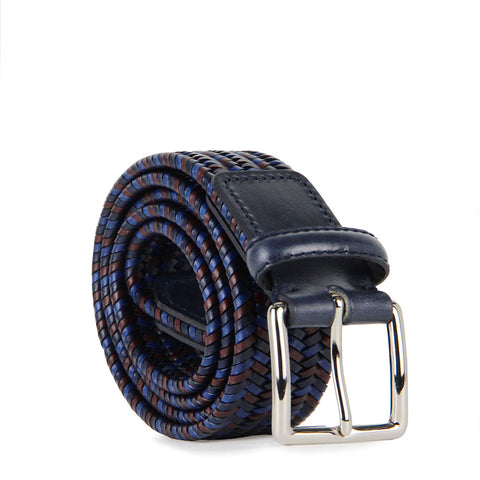 Italian Sandro Multicoloured Woven Leather Belt (Blue)
