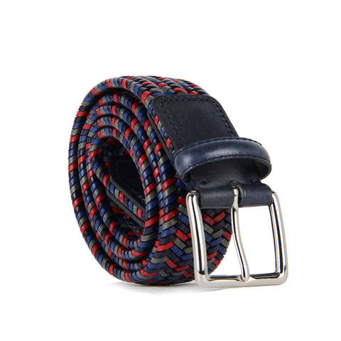 Sandro Multicoloured Woven Leather Belt (Red)