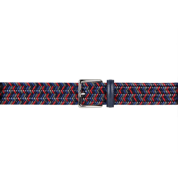 Italian Sandro Multicoloured Woven Leather Belt (Red)