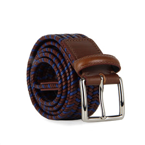 Italian Sandro Multicoloured Woven Leather Belt (Tan)