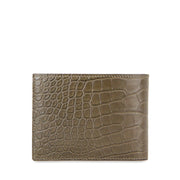 Limited Edition Valour Handcrafted Alligator Leather Slim Billfold Wallet - Khaki