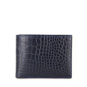 Limited Edition Valour Handcrafted Alligator Leather Slim Billfold Wallet - Navy