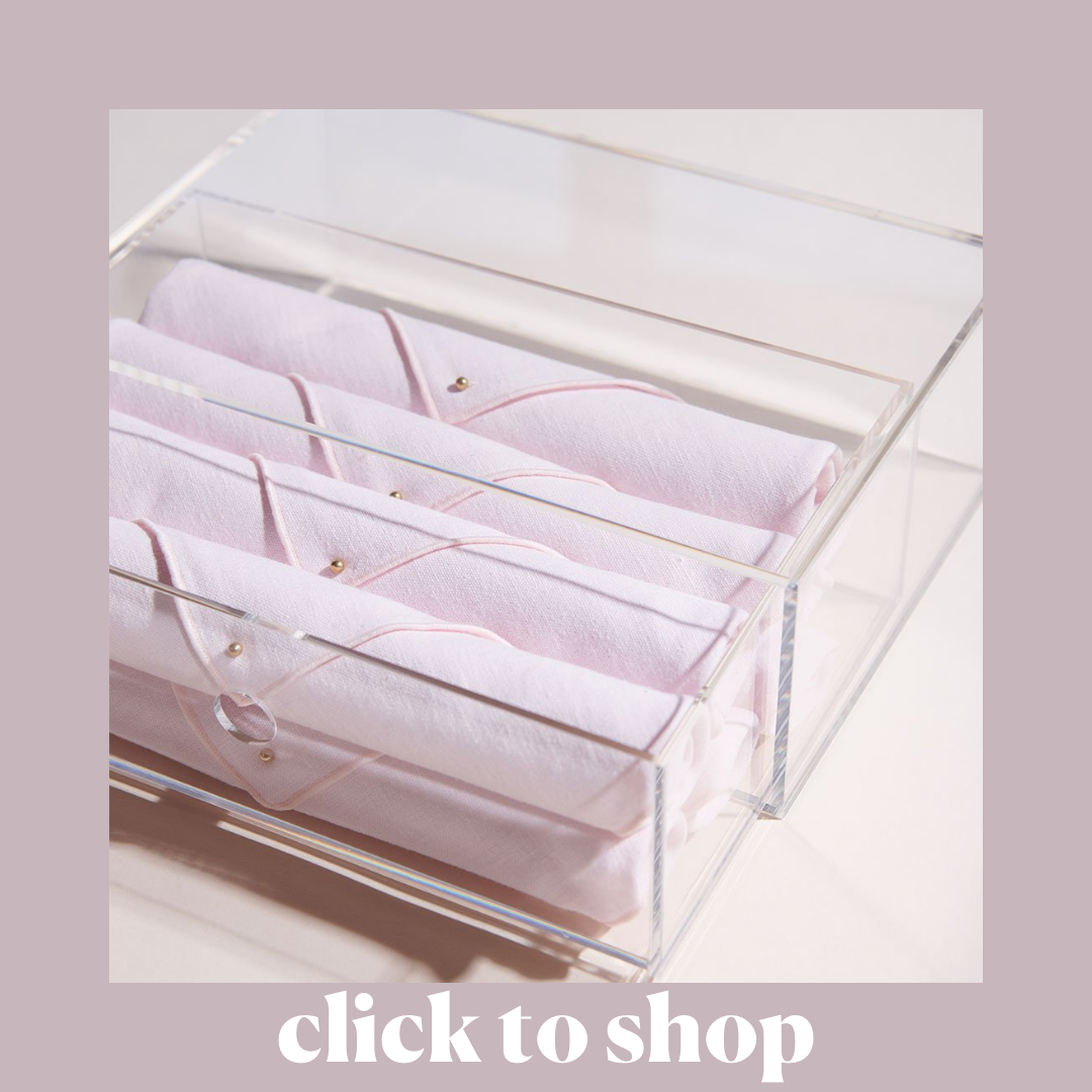 Cloth Napkins with Lucite Box