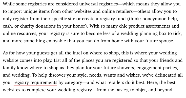 Harper's Bazaar Article: The Best Websites to Register for Your Wedding