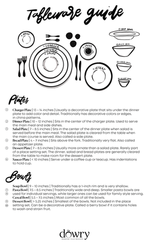 The Dowry Tabletop Guide. Print to learn how to set your table!