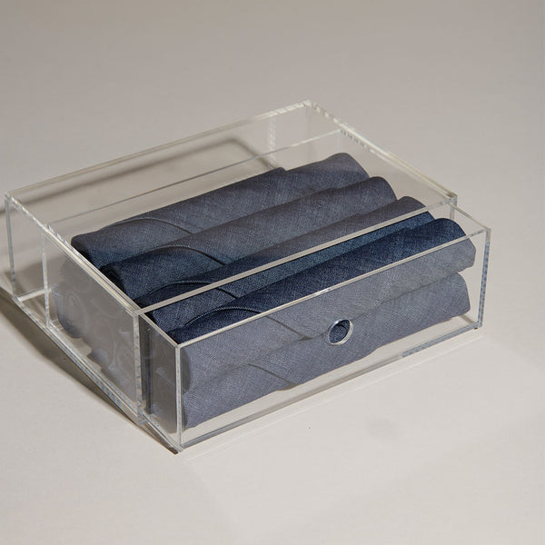 Lucite Gift Box + Napkin Set, Set of 8