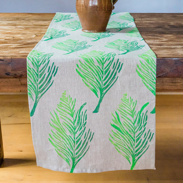 Feather Ombré Linen Table Runner