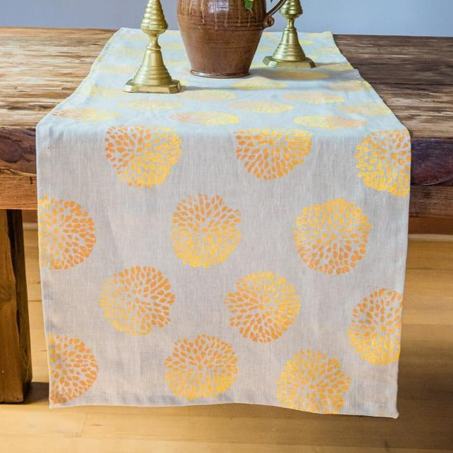 Pom Pom Ombré Linen Table Runner