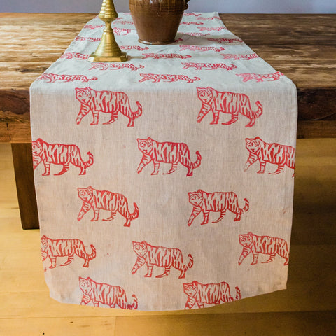Tiger Ombré Linen Table Runner