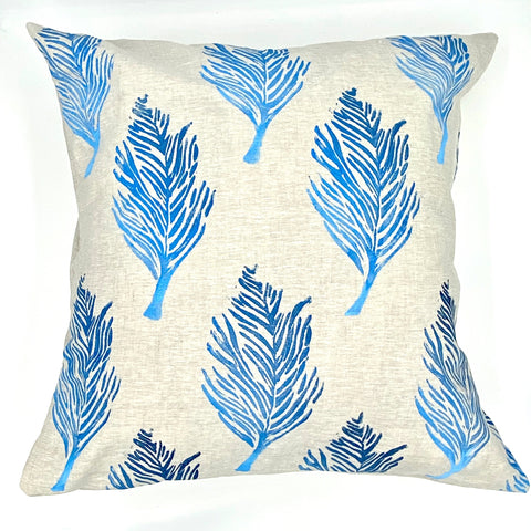 Feather Ombré Block-Printed Linen Pillow