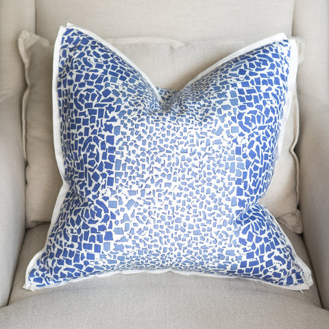 Fifty State Leopard Spode Blue Square Pillow
