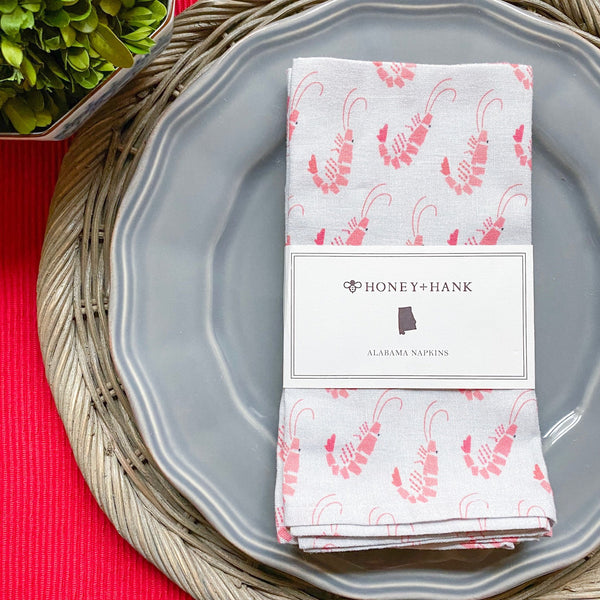 Alabama Shrimp Napkins, Set of 4