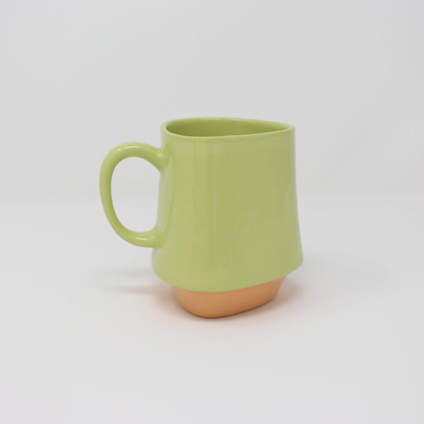E. Lo Ceramic Art Bottom Curve Mug no.2 Chartreuse Orange
