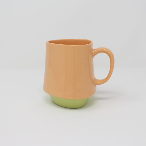 E. Lo Ceramic Art Bottom Curve Mug no.2 Orange Chartreuse