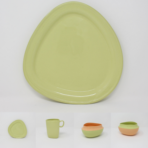 Chartreuse Top Curve Place Setting, 4-piece