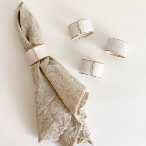 JKH Ceramic Napkin Rings, Set of 4