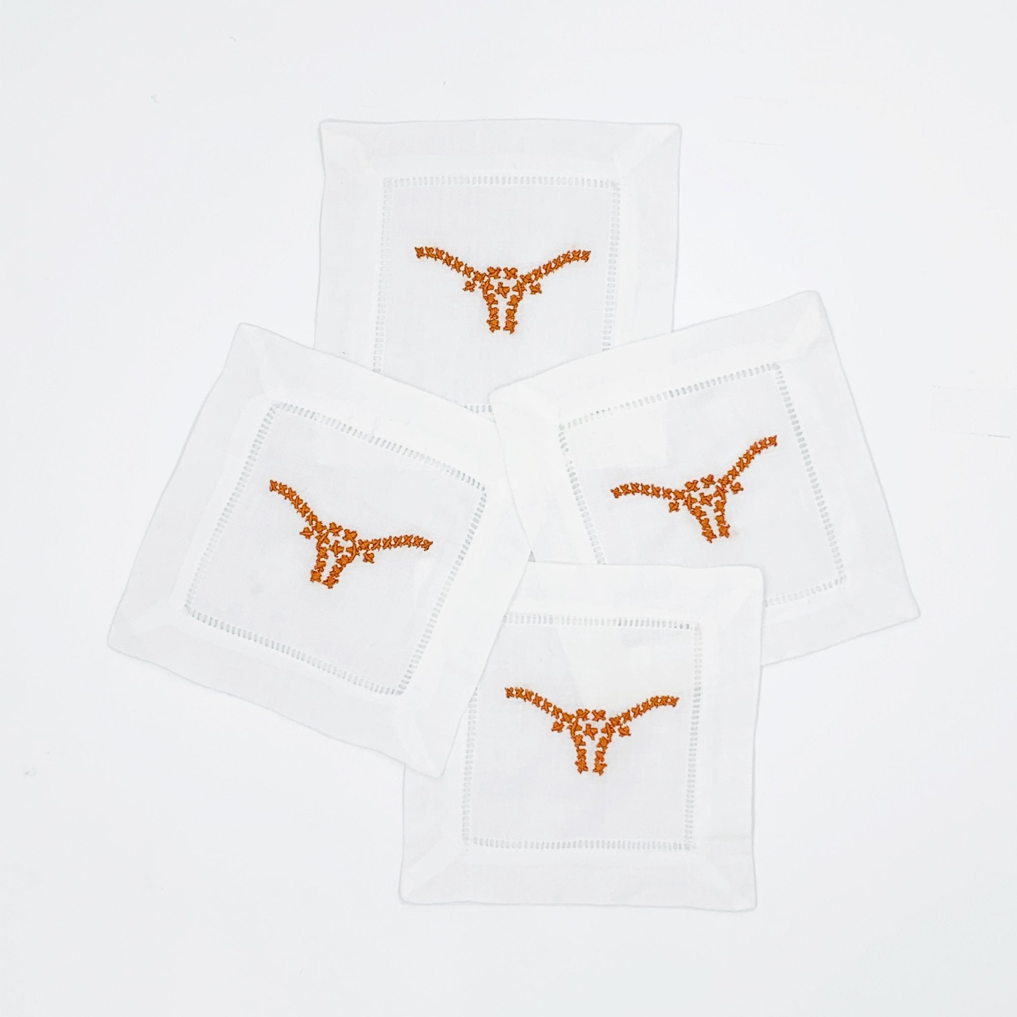Texas Longhorn Embroidered Cocktail Napkins