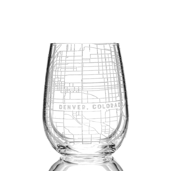 Custom Map Stemless Wine Glass, Set of 4