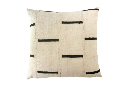 Ebi White Dash Mudcloth Pillow