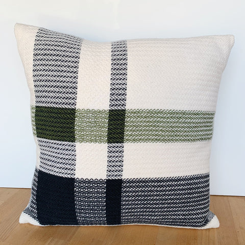 Green Stripe Offset Plaid Pillow