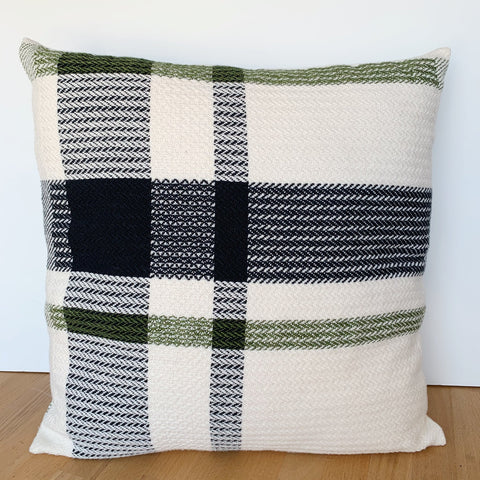 Black Stripe Offset Plaid Pillow