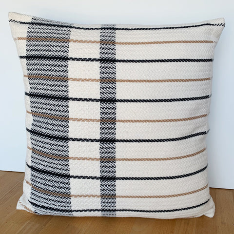 Camel and Black Offset Plaid Pillow