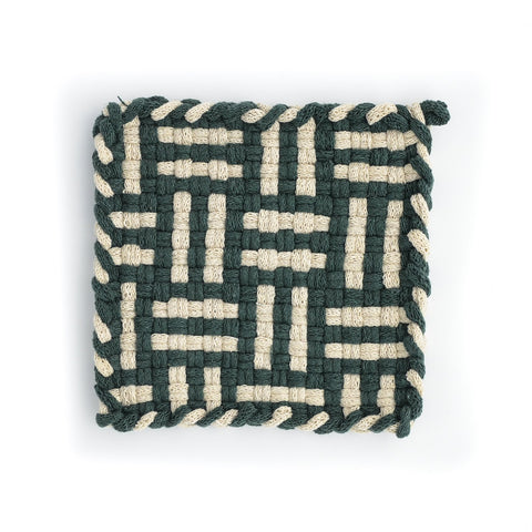 FOREST Pine & Flax Handwoven Potholder