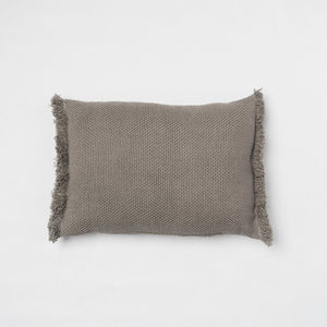 KD Weave Small Gray Lumbar Pillow Cover with Fringe