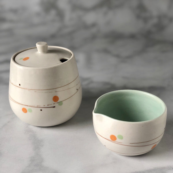 Playful Dots Orange & Green Sugar Pot & Creamer Set, Inner Green