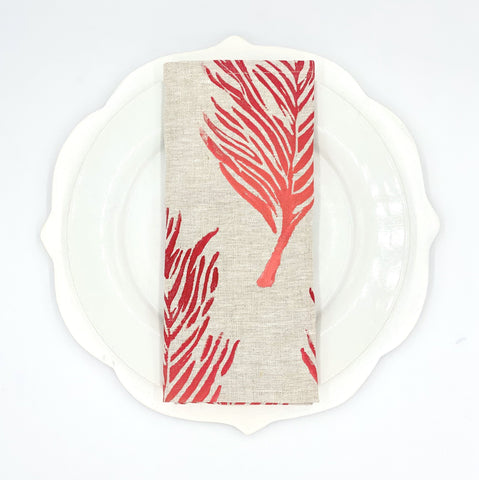Feather Ombré Linen Napkins, Set of 4